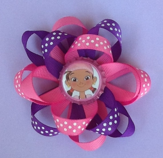 Hairbows - Girls Hair Accessories - Purple and Pink Izzy the Pirate from Neverland Pirates Loop Boutique Loopy Hairbow For Girls