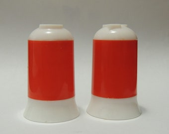 1950s Red and White Plastic Salt and Pepper Shakers