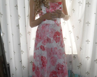 Floral gown in georgette 1980s