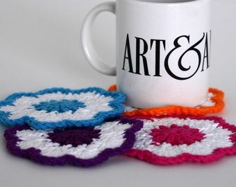 Bright Colorful Crochet Coasters, Home Garden Dining Entertaining Crochet Coasters