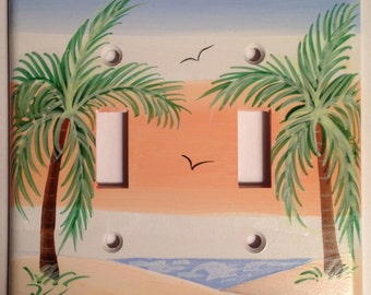Palm Tree Switchplate Cover Double Toggle