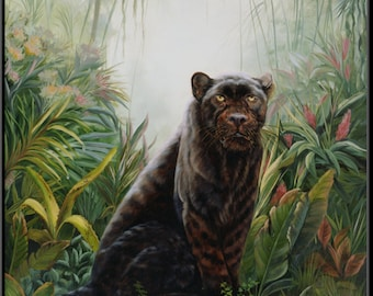 "Jungle Shadow 12"" x 16"" Black Leopard in the jungle Print"