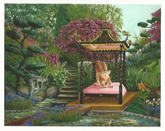 Koshi's Garden - Folding Greeting Card - Mountain Lion stretching on a bed in a Japanese garden