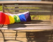 Knitted Rainbow Pillow