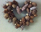 Wreath loaded with Pine Cones - Rustic Christmas Heart-Shaped Wreath - ZoeysTreasureBox
