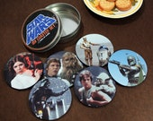 Star Wars Coaster Set six different ones Leia luke Yoda Darth Chewie Han Solo C3pO R2D2 and Boba Too Oh Lord
