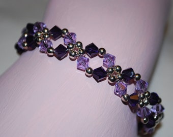 Womens Purple Swarovski Crystal and Silver Bracelet