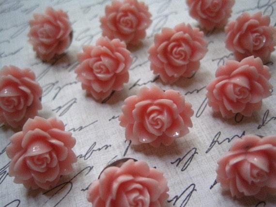 Flower Thumbtacks... 12 pc Decorative Push Pins in Sweet Pink....  Housewarming Gifts, Hostess Gifts, Wedding Favors