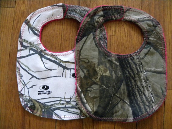 Set Of 2 Baby Girl Bibs Realtree Camo Mossy Oak Snow Hot
