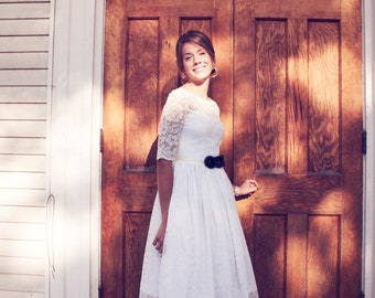 Adele - Tea length, illusion lace wedding gown