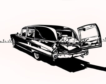 Daisy Pushin'- Classic hearse ink drawing with Matte