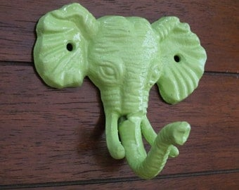 Elephant Wall Hook / Cast Iron Elephant Refinished in Apple Green /Shabby Chic/Nursery Hook/Children's Room