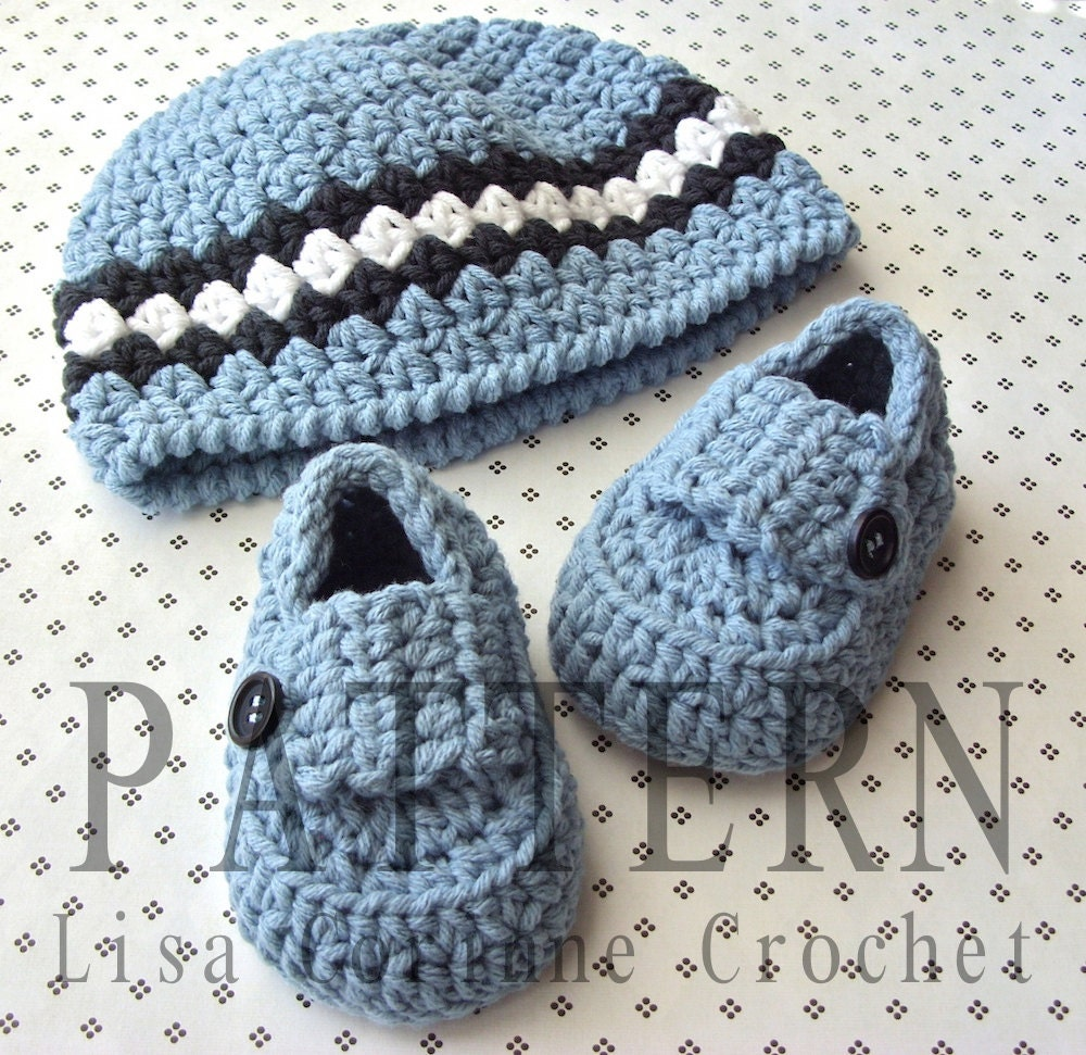 Crochet Baby Hat Booties Patterns Free : Items similar to Baby Boy Hat and Booties Crochet Pattern ...