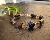 SALE: Boho wood bead bracelet- brown and amber women's nature  jewelry
