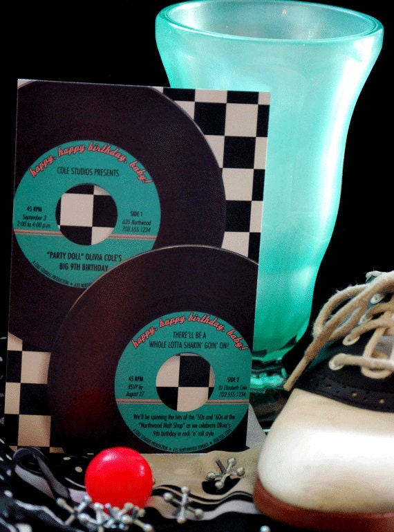 Fabulous '50s 45 rpm Sock Hop Birthday Party Custom Personalized Printable DIY Invitation