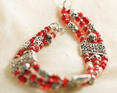 Multi-Strand Pewter and Ruby Red Czech Glass Seed Bead Bracelet
