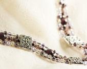 Multi-Strand Lead-Free Pewter and Purple Czech Glass Seed Bead Bracelet