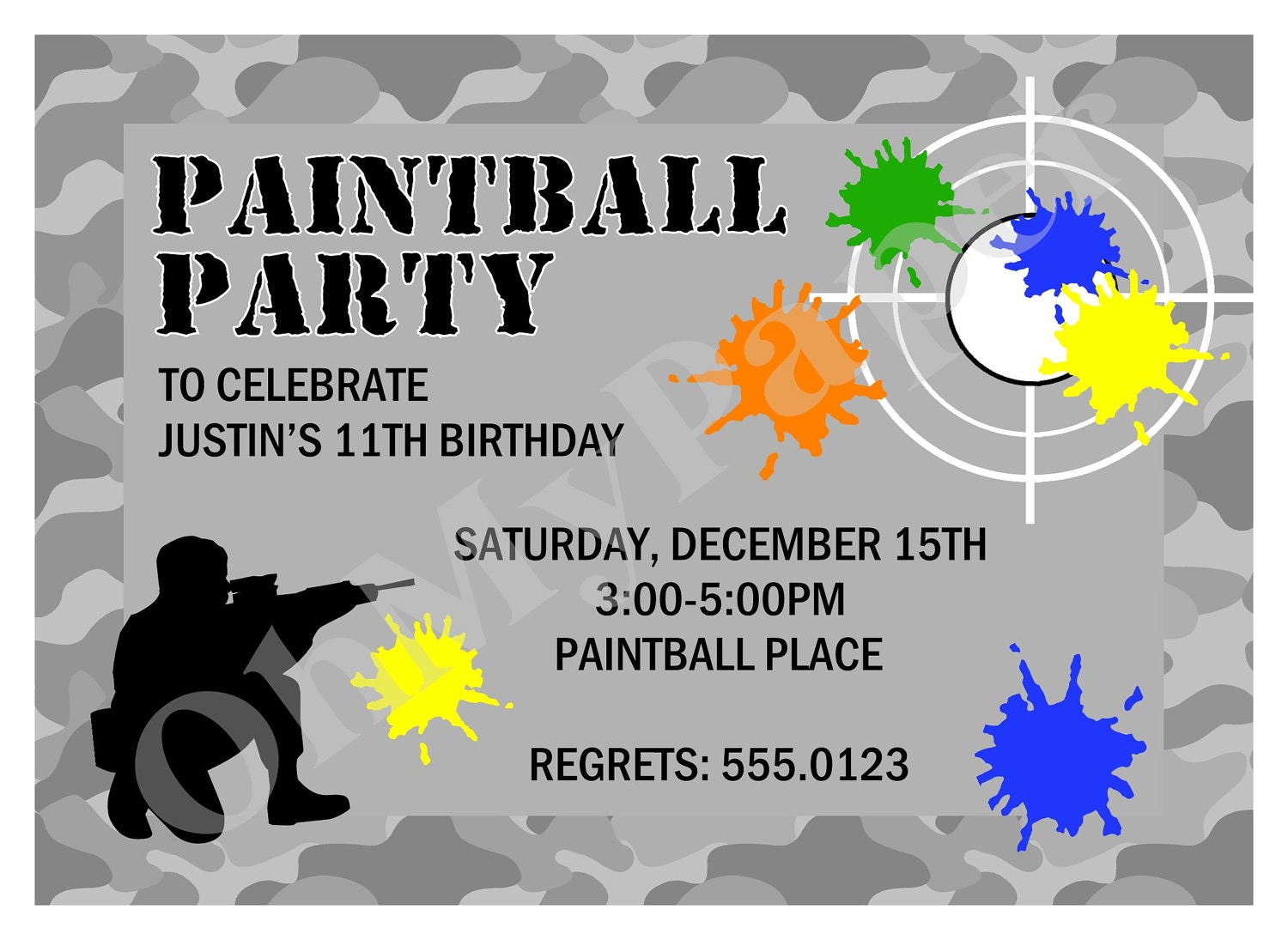 paintball party invitations by ohmypaperllc on etsy