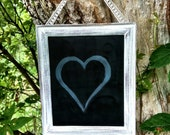 White Distressed Vintage Wood Chalkboard Sign, Shabby Chic Chalk Board Picture Frame, Wedding Decor