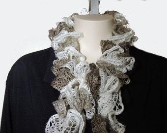 Scarf, White Beige, Knit, Women, Fashion Accessory