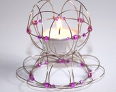 Multi-functional Candle Holder - Lotus Flower Mandala - made from alpaca wire and rose - pink glass beads