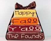 Personalized  Happy Fall Y'all - Fall Autumn Harverst Wood Block Decor Set