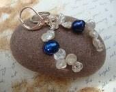 Freshwater Pearl Earrings - Blue Deep
