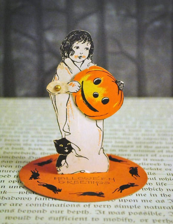 RESERVED - Vintage Halloween 1920's Costumed Girl Stand up Place Card by Whitney
