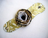 Tender Leather  Bracelet Leather Bangle Leather Jewelry  Leather Wrist Cuff Flower Pastel  Hand Painted OOAK