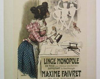 Roedel, Original Maitres de L'Affiche Poster, Paris 1900, Plate No.195. Ad for linen shirts that require no ironing.