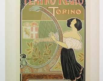 G. Boano, Maitres de L'Affiche Poster, Milan Italy 1899, Plate No.192. Ad for the 1898 Season at the Royal Theatre in Torino.