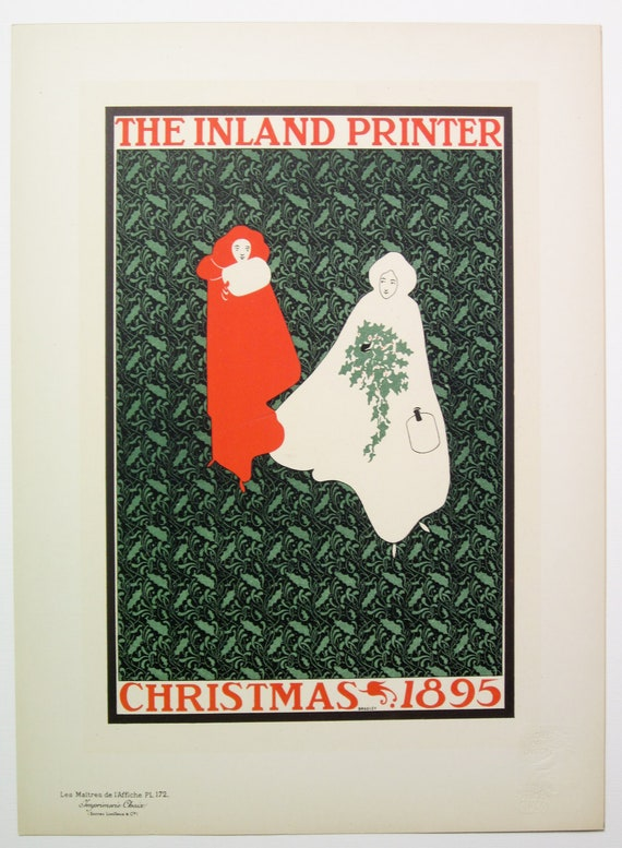 HOLD William Bradley, Maitres de L'Affiche Poster, U S A 1899, Plate No.172. Cover for the Christmas Issue of the INLAND PRINTER.