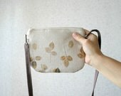 Leaf Fall Small Bag, autumn, hand printed, hand stamped linen