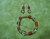 Frosted Red, Tan and Clear Glass Bead Bracelet and Earring Set