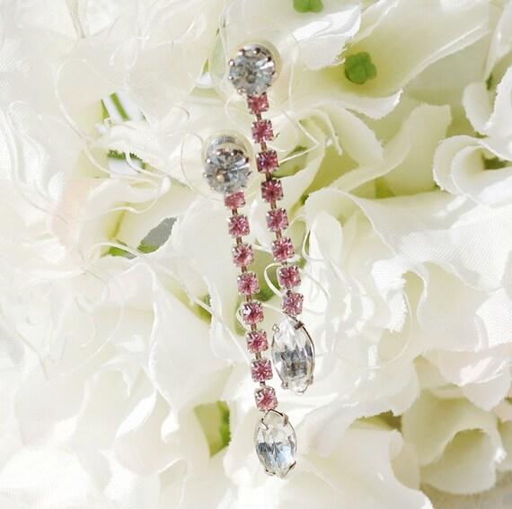 Vintage Dangle Earrings, Navette Rhinestones, Pink Crystals, Long Drops, Silver Pierced, 1970s, Wedding Bridal Costume Jewelry