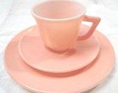1940's Vintage Hazel Atlas Pink Milkglass Teacup, Saucer and Plate