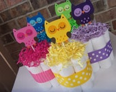 Bright Owl Diaper Cakes-Set of 5 Small Cakes-Your Choice of Color or Mix