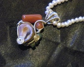 The Lady of the Lake - Sterling SIlver Seashell, Adventurine & Agate Wire Wrap Pendant with Real Freshwater Pearl Strand Necklace