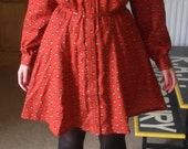 Vintage '70s Prairie Country Girl Folk Rust Red Strawberry Print Collared Dress Long Sleeves S M