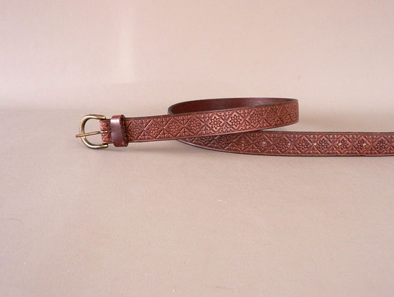 s vintage narrow brown leather belt by