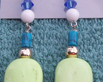Blue and lime green earrings