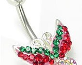 Beautiful Bright Butterfly Navel Ring