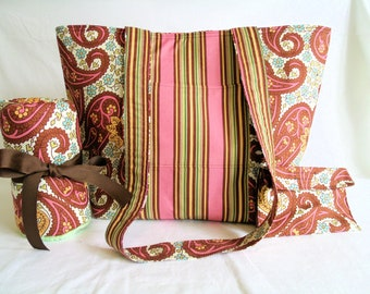 Amy Butler  Rare OOP Charm Fabric Diaper Tote with Changing Pad, Change Purse * Unisex Diaper Bag * Boutique Diaper Bag