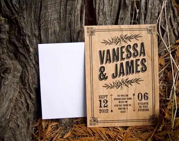 Real Wood Wedding Invitations: Items Similar To Real Wood Invitation Set