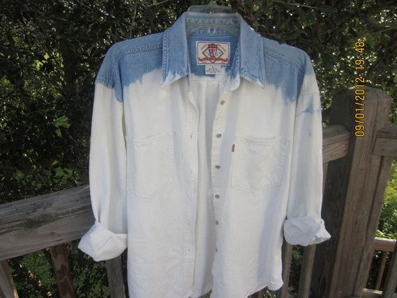 Vintage Levi Bleach Dip Denim Jean Shirt Women L