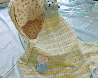 Blankie with Toy Bear.  Unique heirloom, handmade, crocheted baby afghan/blanket.  Immediately available