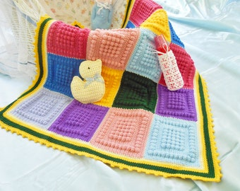 Colors That Pop.  Unique heirloom, handmade, crocheted baby afghan/blanket.  Immediately available