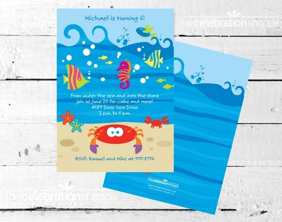 Deep BLUE SEA Birthday Party INVITATION from The Celebration Shoppe