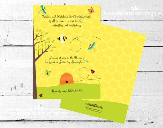 BUGS and BUTTERFLIES Birthday or Baby Shower INVITATION