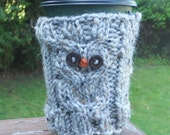 Eco friendly reusable owl knit coffee cozy
